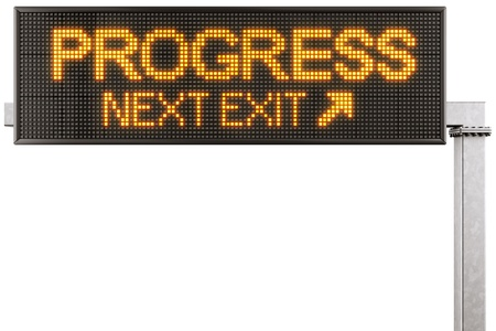 3d rendering of a modern digital highway sign with PROGRESS written on it photo