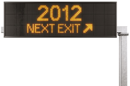 3d rendering of a modern digital highway sign with 2012 written on it photo