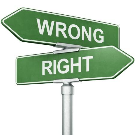 「間違っている」との標識の 3 d レンダリングと反対の方向で指している「右」