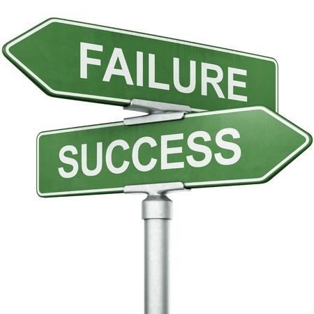 """uithangbord: 3D-rendering van de borden met """"falen"""" en """"SUCCES"""" wijzen in tegengestelde richtingen Stockfoto"""