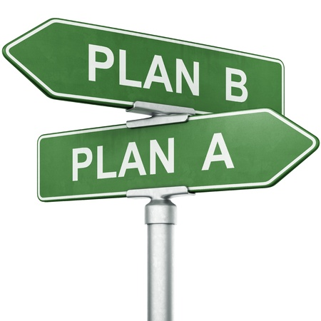 3d rendering of signs with PLAN A and PLAN B pointing in opposite directions photo