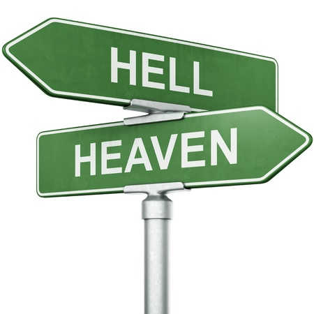 3d rendering of signs with HEAVEN and HELL pointing in opposite directions