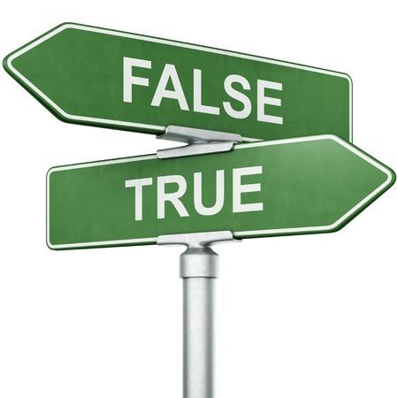 """Representación 3D de los signos con """"TRUE"""" y """"falso"""" que van en direcciones opuestas"""