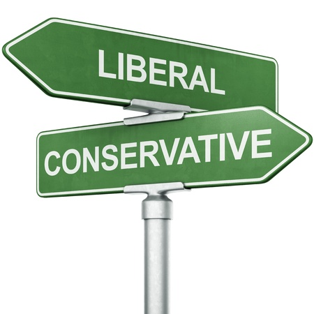 3d rendering of signs with LIBERAL and CONSERVATIVE pointing in opposite directions photo