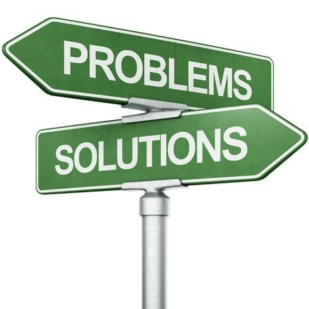"""problema: Representaci�n 3D de los signos con """"soluciones"""" y """"problemas"""" que apunta en direcciones opuestas Foto de archivo"""