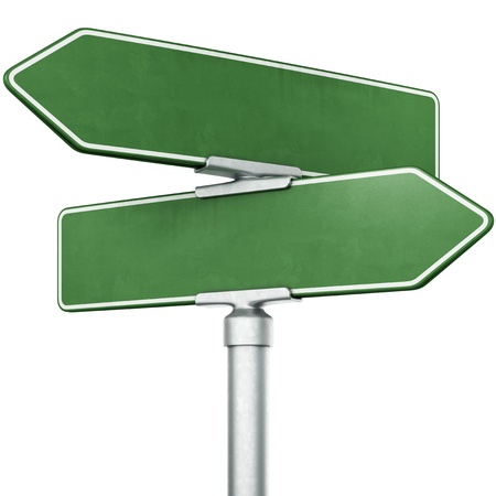3d rendering of blank signs pointing in opposite directions photo