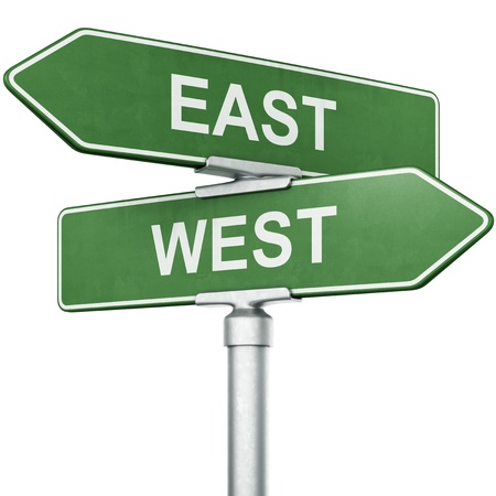 3d rendering of signs with WEST and EAST pointing in opposite directions