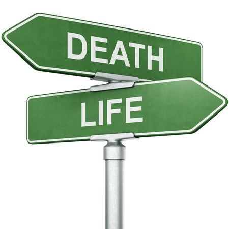 3d rendering of signs with LIFE and DEATH pointing in opposite directions Stock Photo