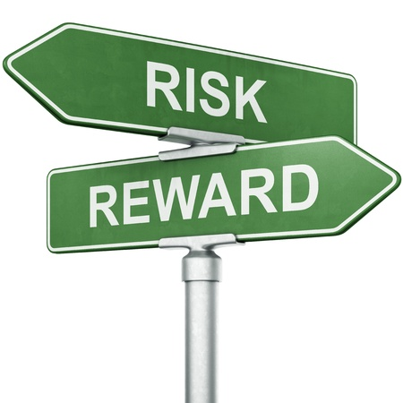 rewards: 3d rendering of signs with REWARD and RISK pointing in opposite directions