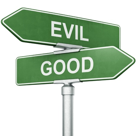 3d rendering of signs with GOOD and EVIL pointing in opposite directions photo