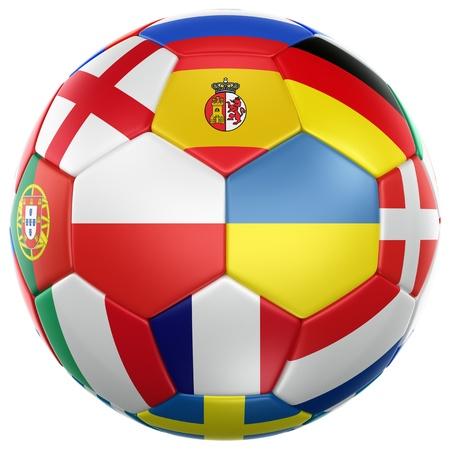 ユーロ 2012年カップ参加国からフラグとサッカー ボールの 3 d レンダリング