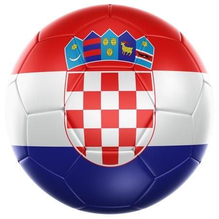 bandera de croacia: Representación 3D de un balón de fútbol croata aislado en un fondo blanco