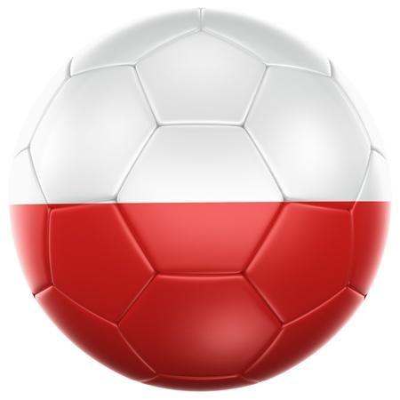 bandera de polonia: Representación 3D de un balón de fútbol de Polonia aislado en un fondo blanco