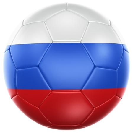 bandera rusia: Representación 3D de un balón de fútbol de Rusia aislado en un fondo blanco Foto de archivo