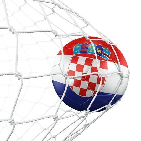 bandera de croacia: Representación 3D de una pelota de fútbol croata en una red