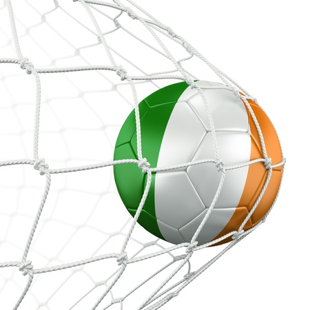 bandera de irlanda: Representaci�n 3D de un bal�n de f�tbol de Irlanda en una red Foto de archivo