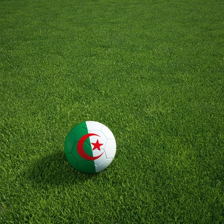 3d rendering of a Algerian soccerball lying on grass photo