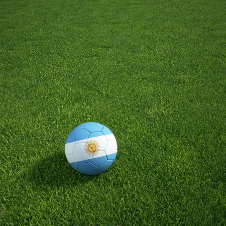 3d rendering of an Argentinian soccerball lying on grass Stock Photo - 12905408