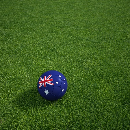 3d rendering of a Australian  soccerball lying on grass photo