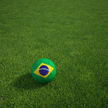 3d rendering of a Brazilian soccerball lying on grass Standard-Bild