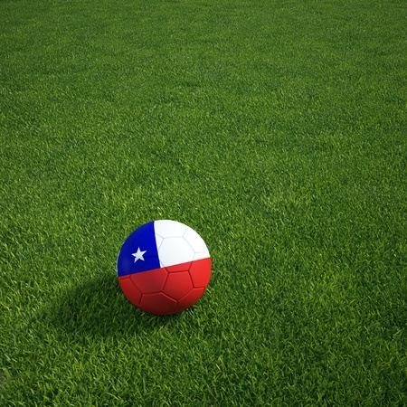 3d rendering of a Chilian soccerball lying on grass Stock Photo - 12905168