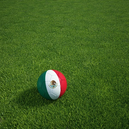 3d rendering of a Mexican soccerball lying on grass photo