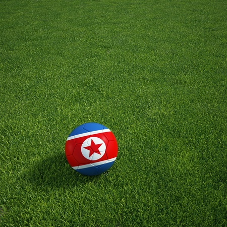 3d rendering of a North Korean, soccerball lying on grass Stock Photo - 12905402