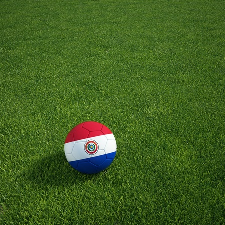 3d rendering of a Paraguayan soccerball lying on grass photo