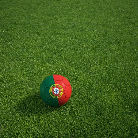 3d rendering of a portuguese soccerball lying on grass photo