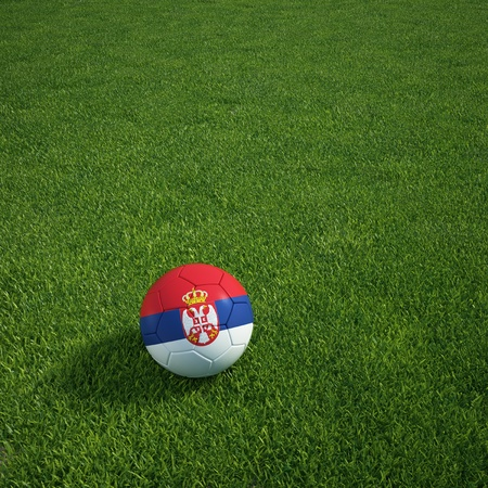 3d rendering of a Serbian soccerball lying on grass Stock Photo - 12905413