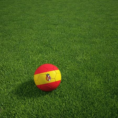 草の上に横たわるスペイン soccerball の 3 d レンダリング 写真素材
