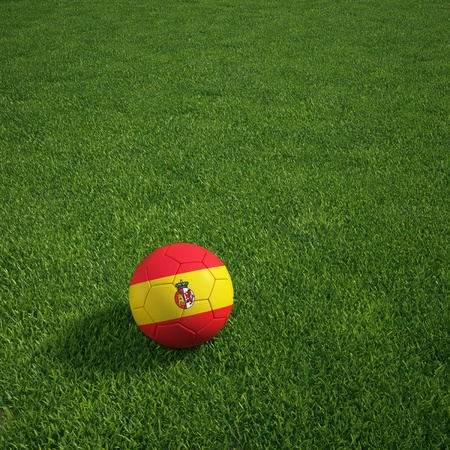 3d rendering of a Spanish soccerball lying on grass