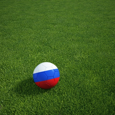 3d rendering of a Russian soccerball lying on grass Stock Photo - 12905219