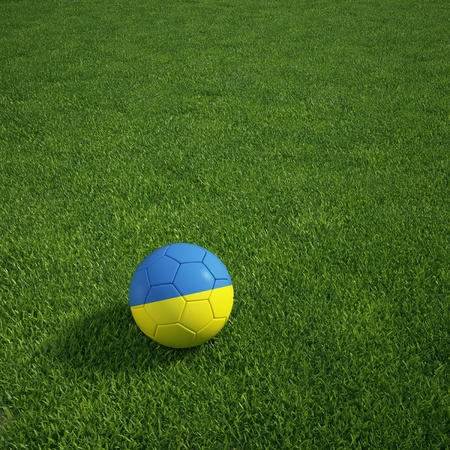 3d rendering of a Ukrainian soccerball lying on grass Stock Photo - 12905400