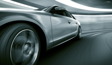 road tunnel: 3d rendering of a brandless generic car of my own design in a tunnel with heavy motion blur