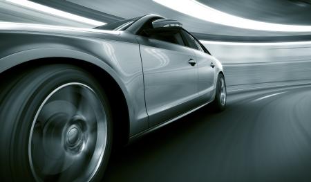 tunel: Representación 3D de un coche brandless genérica de mi propio diseño en un túnel con el desenfoque de movimiento pesado Foto de archivo