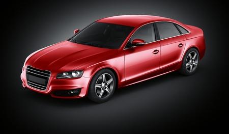 Rendu 3D d'une voiture rouge brandless générique
