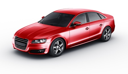 3d rendering of a brandless generic red car photo
