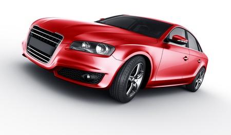 3D-rendering van een merkloze generieke rode auto