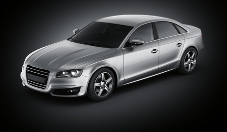 3d rendering of a brandless generic silver car