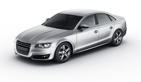 3D-rendering van een merkloze generieke zilveren auto van mijn eigen ontwerp in een studio-omgeving Stockfoto