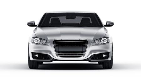 coche: Representación 3D de un coche plateado brandless genérica de mi propio diseño en un ambiente de estudio