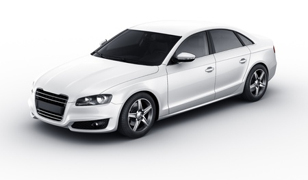 sedan: 3d rendering of a brandless generic white car