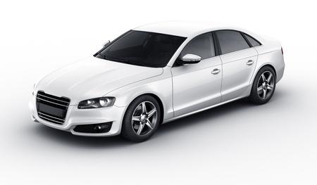 Rendu 3D d'une voiture blanche brandless générique Banque d'images