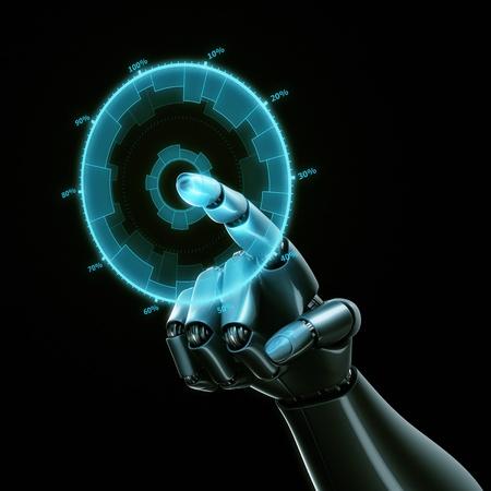 Rendu 3D d'un graphique robothand toucher sur un écran virtuel