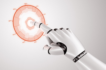 3d rendering of a robothand touching graphic on a virtual screen Stock Photo - 12905152