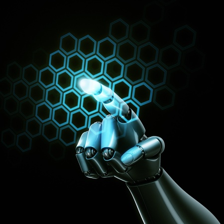 3d rendering of a robothand touching a grid of hexagons photo