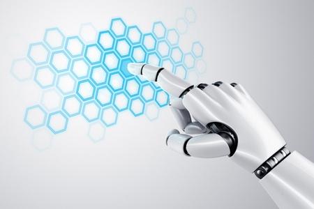 3D-rendering van een robothand het aanraken van een raster van zeshoeken