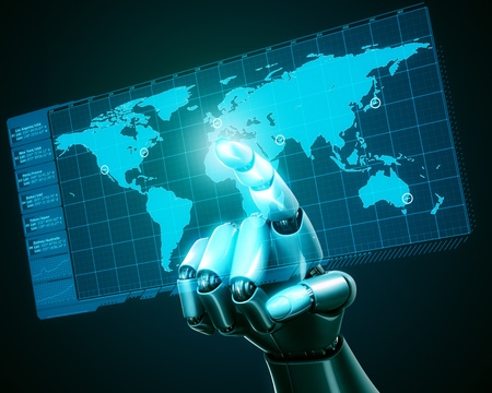 worldmap: 3d rendering of a robothand touching a virtual screen with a worldmap
