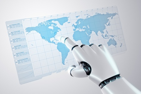 3d rendering of a robothand touching a virtual screen with a worldmap photo